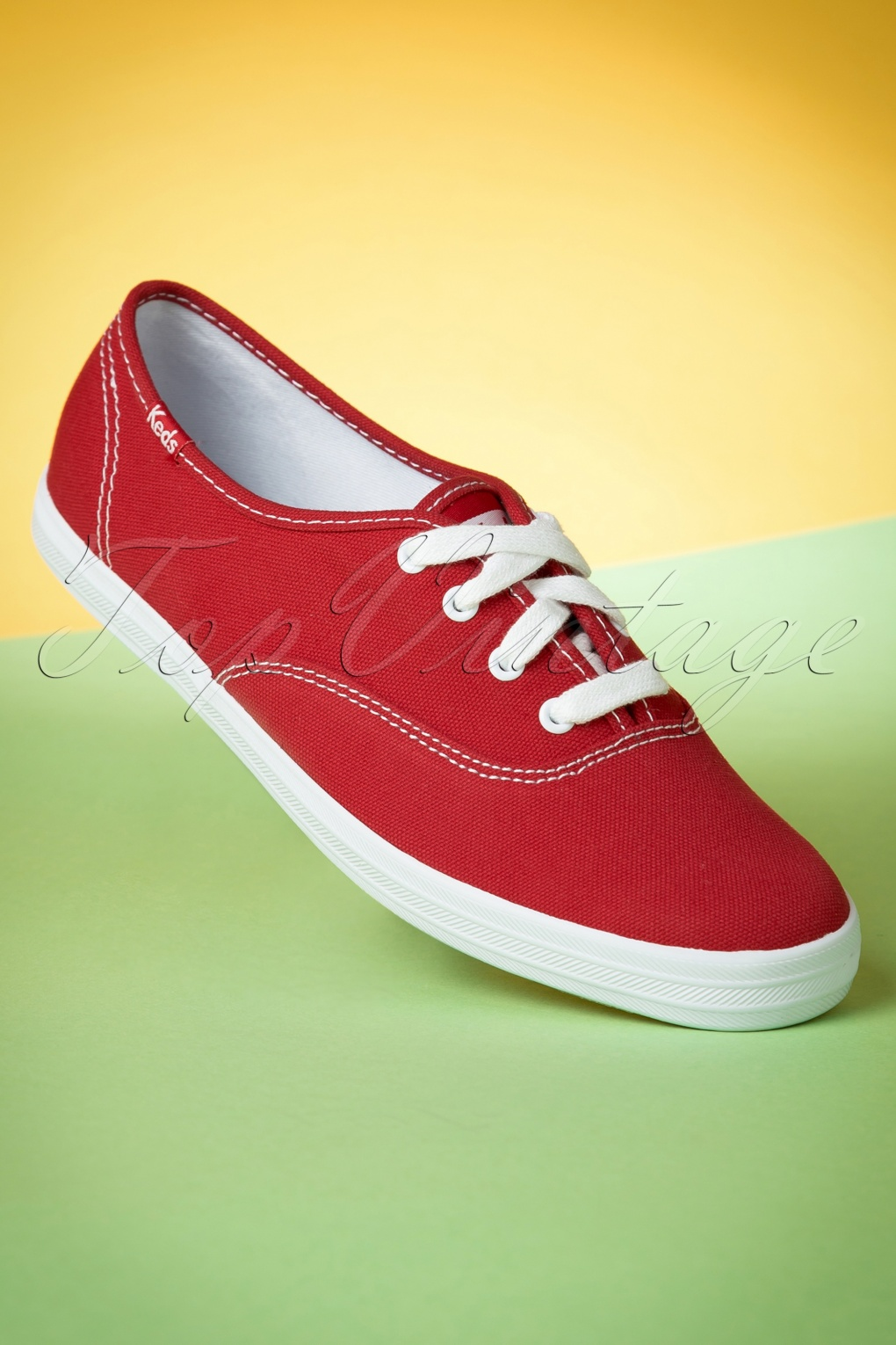 Retro sneakers 50s Champion Core Text Sneakers in Red £50.91 AT vintagedancer.com