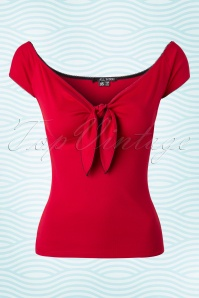 50s Bardot Top in Red