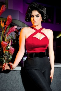 50s Deadly Dames Vixen Top in Red