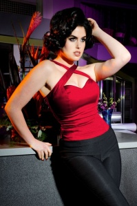 Pinup Couture 50s Deadly Dames Voodoo Top Red 110 20 18082 2