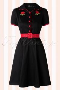 50s Sherry Roses Diner Dress in Black