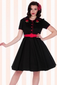 Dolly Do Sherry Black Red Roses Swing Dress 102 10 17231 1