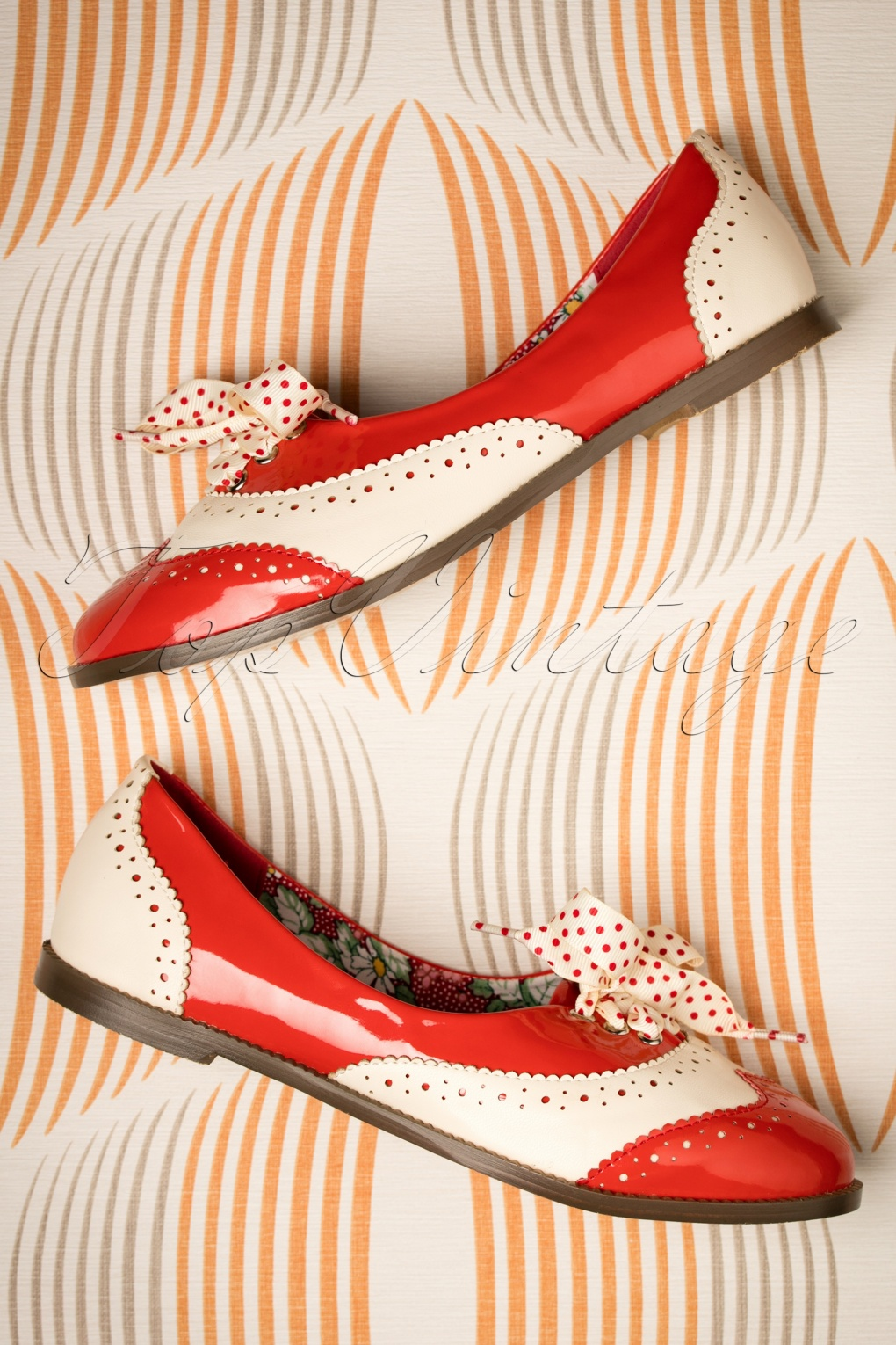 1950s Style Shoes | Heels, Flats, Saddle Shoes 60s Milana Brogues in Red and Cream £39.20 AT vintagedancer.com