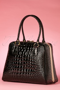 60s Chic Suitcase Croc Handbag in Black Patent Leather