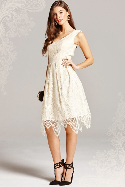 50s Vera Lace Prom Dress in Cream