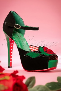 50s Sage Rose Peeptoe Pumps in Black and Green