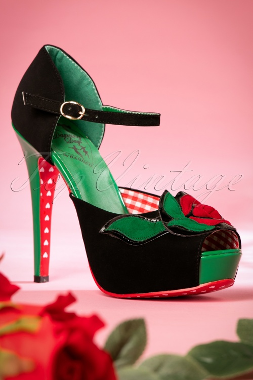 Dancing Days by Banned Sage Rose Pumps BLack and Green 403 10 17762 02012016 016W