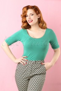 50s Ballerina Top in Oil Green