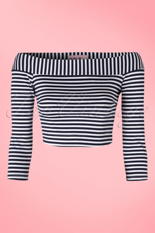 Bettie Page Clothing Shop Till You Drop Navy White Striped Crop Top 113 39 17331 20160202 0002W