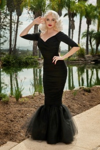 50s Laura Byrnes California Monica Mermaid Dress in Black