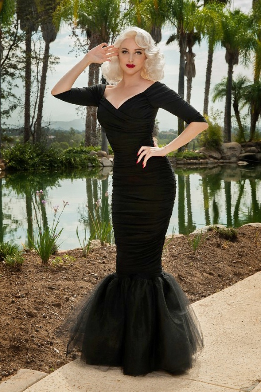 50s Laura Byrnes California Monica Mermaid Dress in Black