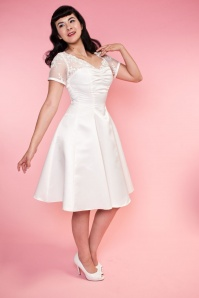 Bettie Page Clothing  Antoinnette White Dress 102 50 16184 2