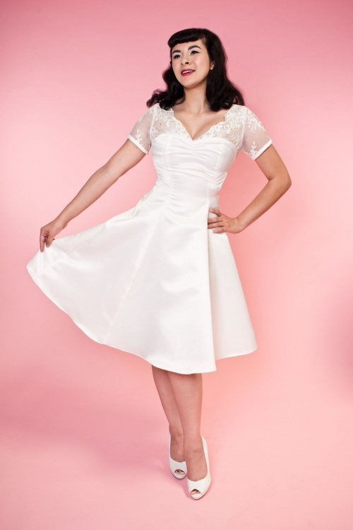 Bettie Page Clothing  Antoinnette White Dress 102 50 16184 1