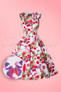 50s Elisa Floral Swing Dress in White