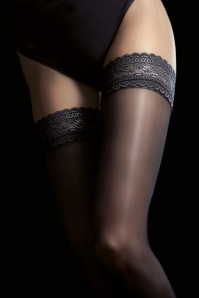 Fiorella Jaci Satin Gloss Hold Ups in Black