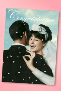 Wedding Congratulations Greeting Card Années 1950