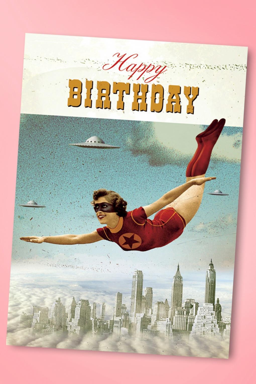 50s superhero happy birthday greeting card bookmarktalkfo Images