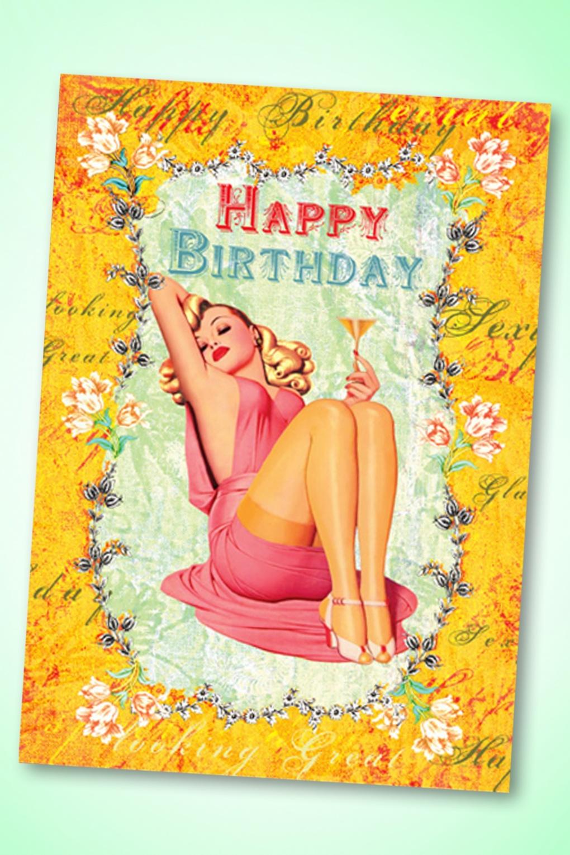 50s très chic happy birthday greeting card