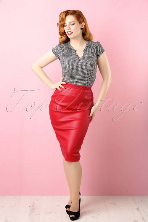 50s Deadly Dames Curves Skirt in Red Faux Leather
