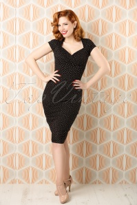 50s Perry Little Dots Pencil Dress in Black