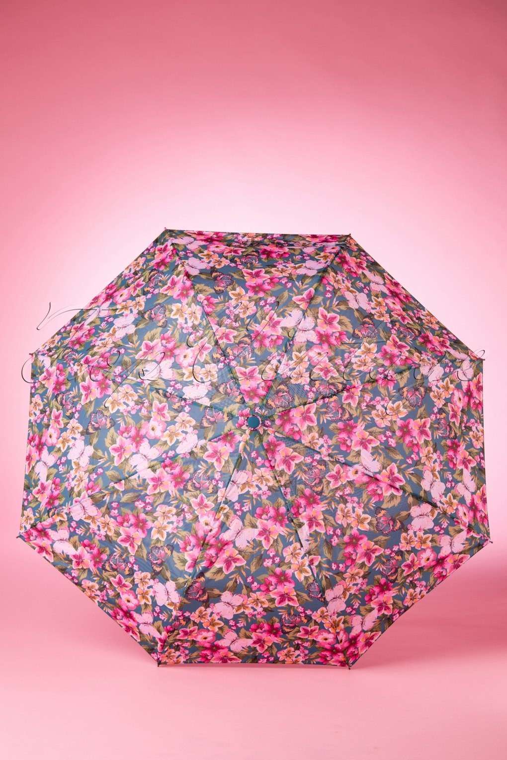 Vintage Style Parasols and Umbrellas 60s Bring Flowers and Butterflies to the Rain Pocketsize Umbrella £17.33 AT vintagedancer.com