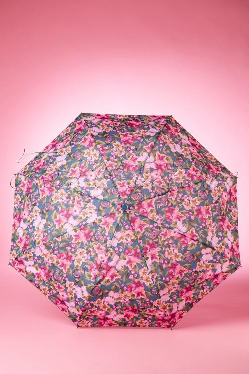 So Rainy Light Blue Floral Umbrella 270 39 18190 02042016 007W