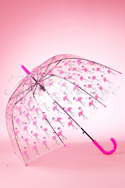 Vintage Style Parasols and Umbrellas 60s Pretty Flamingo Transparent Dome Umbrella £15.84 AT vintagedancer.com