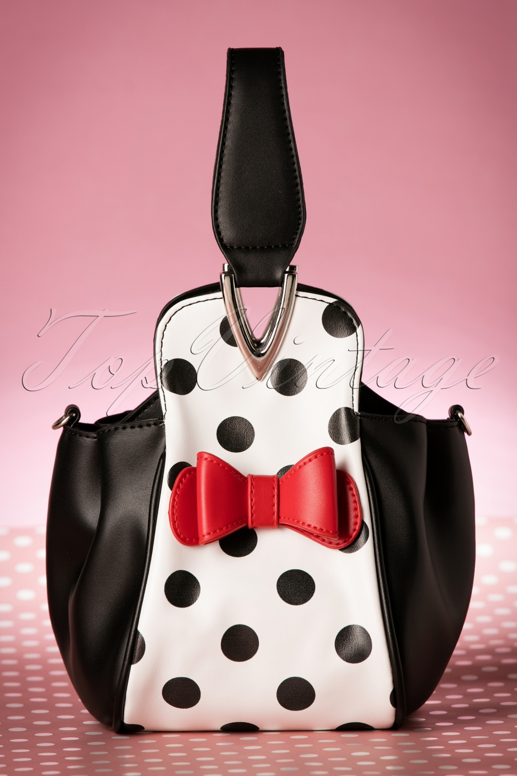 Retro Handbags, Purses, Wallets, Bags 50s Boatie Polka Dot Handbag in Black and White £56.42 AT vintagedancer.com