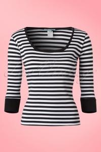 50s Tara Top in Black and White Stripes