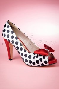 50s Olivia Peeptoe Red Bow Pumps