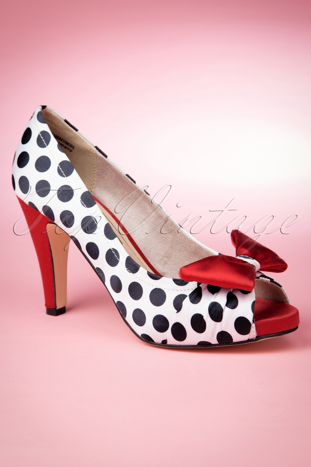 Pin Up Shoes- Heels & Flats 50s Olivia Peeptoe Red Bow Pumps £50.86 AT vintagedancer.com