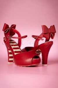 TopVintage Exclusive ~ 50s Angie Cute Bow Sandals in Red