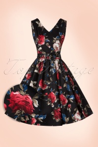 50s Petal Roses Swing Dress in Black