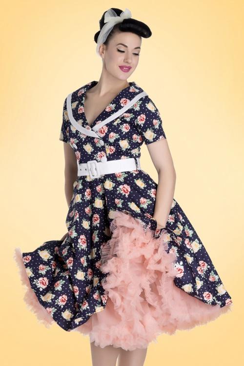 50s Emma Roses Swing Dress In Navy