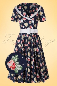 50s Emma Roses Swing Dress in Navy