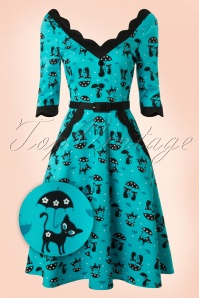 50s Jade Cat Swing Dress in Blue