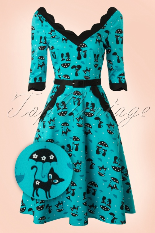 Vixen 50s Jade Blue Cat Umbrella Dress 102 39 17962 20160215 0010WV