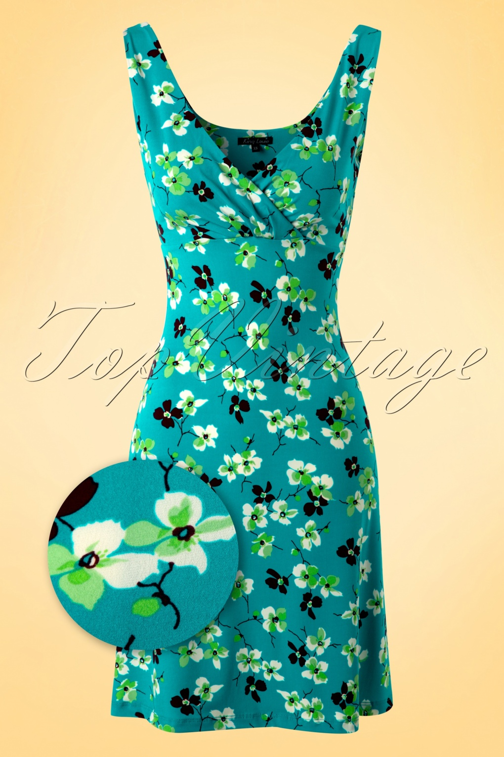 fashion new lifestyle official supplier 60s Ginger Meadow Dress in Princess Blue