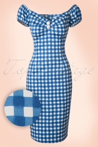 Collectif Cloting Dolores Gingham Pencil Dress in Blue 17710 20151119 0004W1
