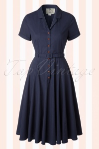 50s Caterina Swing Dress in Navy