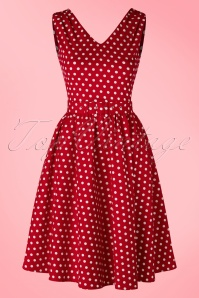 50s Wendy Polkadot Swing Dress in Red