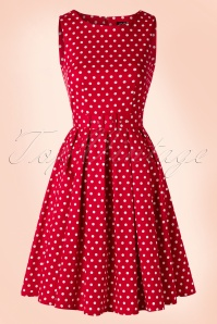 50s Lola Polkadot Swing Dress in Red