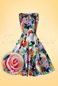 Hearts and Roses Green Floral Swing Dress 102 57 18413 20160219 0004W1