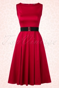 50s Hepburn Swing Dress in Red