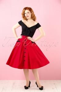 50s Martie Polkadot Swing Skirt in Red