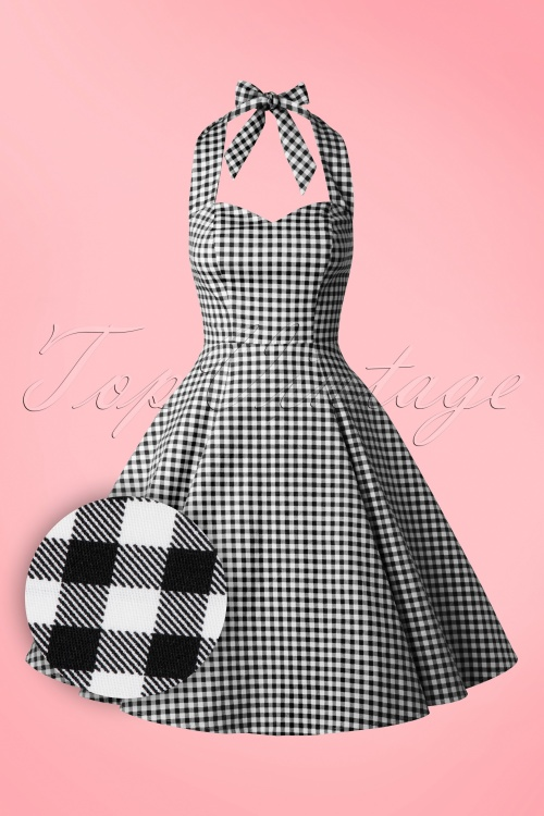 Collectif Cloting Lori Gingham Black Halter Swing Dress 17671 20151119 0009W2