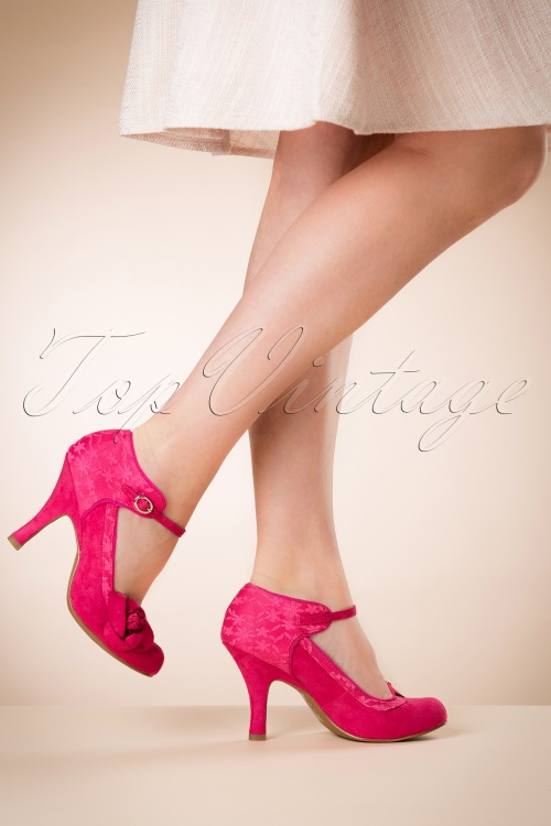 Anna 50s Lace Topvintage Exclusive Pumps Fuchsia ~ In FJlKT1c