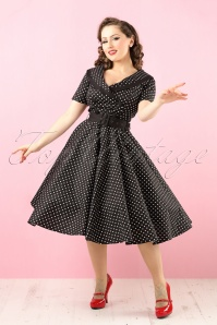 50s Mimi Polkadot Swing Dress in Black