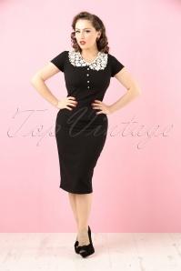 40s Reanna Pencil Dress in Black Crêpe