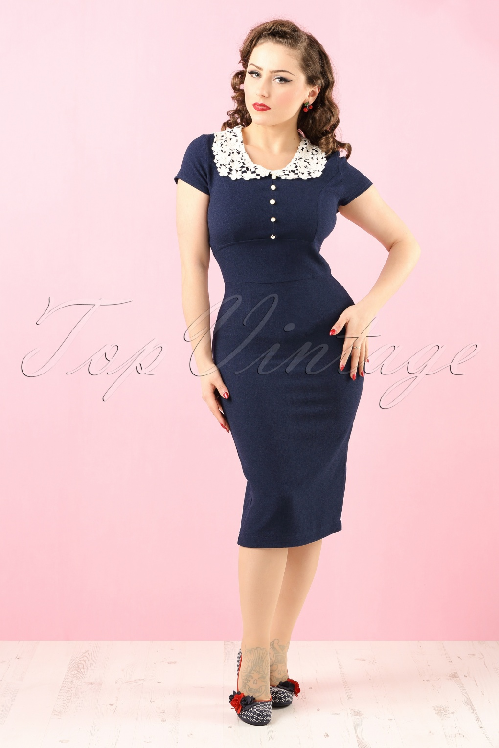 40s Reanna Pencil Dress in Navy Crêpe